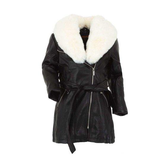 Zwarte leatherlook jas voor meisjes met witte pels.