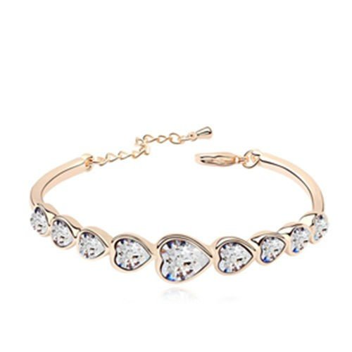 Gold plated armband romantic hearts.