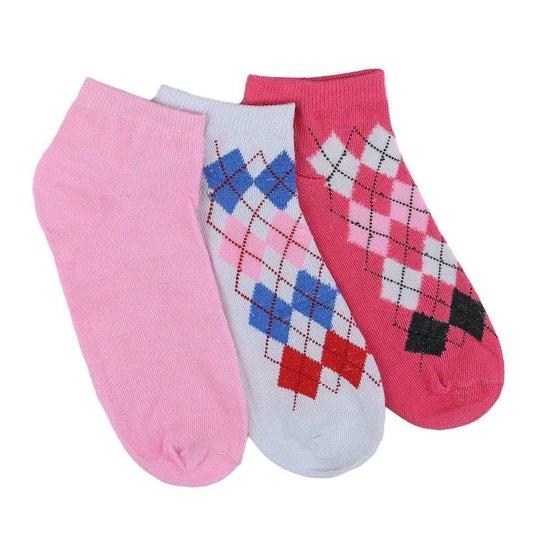 Assortiment van 12 paar dames sokken rood/wit/rose.37-41