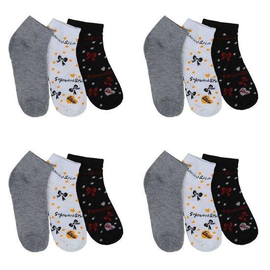 Assortiment van 12 paar dames sokken blauw/wit/grijs.35-38