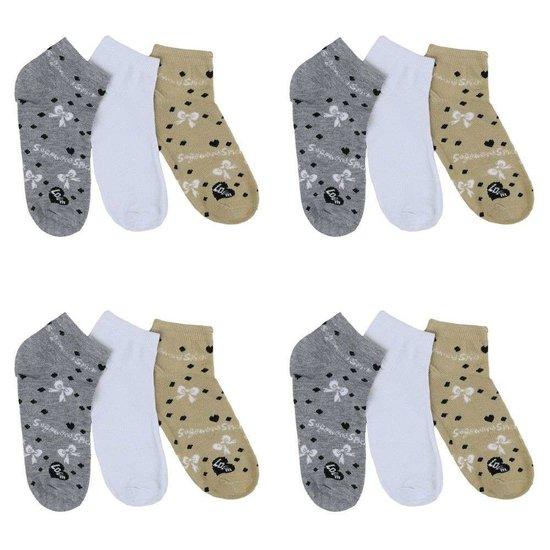 Assortiment van 12 paar dames sokken grijs/wit/olive.35-38