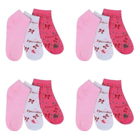 Assortiment van 12 paar dames sokken rood/rose/wit.35-38