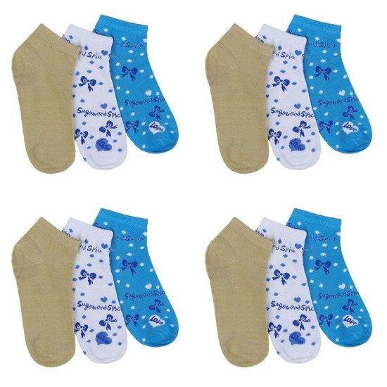 Assortiment van 12 paar dames sokken olive/wit/blauw.35-38