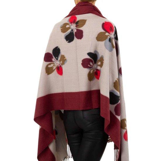 Bordeaux sjaal met bloemmotief.