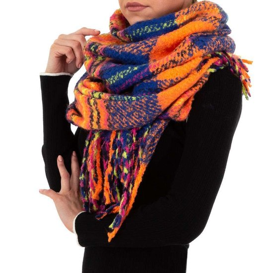 Mixed oranje xxl sjaal.