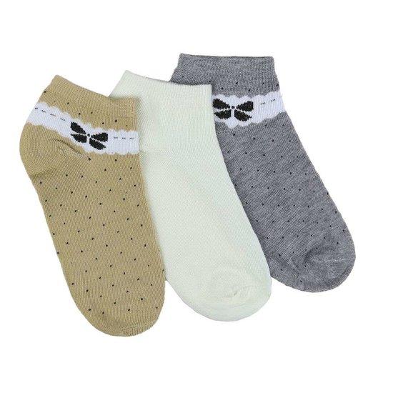 Assortiment van 12 paar dames sokken met strik grijs/wit/olive.37-41