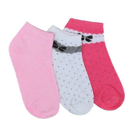 Assortiment van 12 paar dames sokken met strik rose/wit/rood.35-38