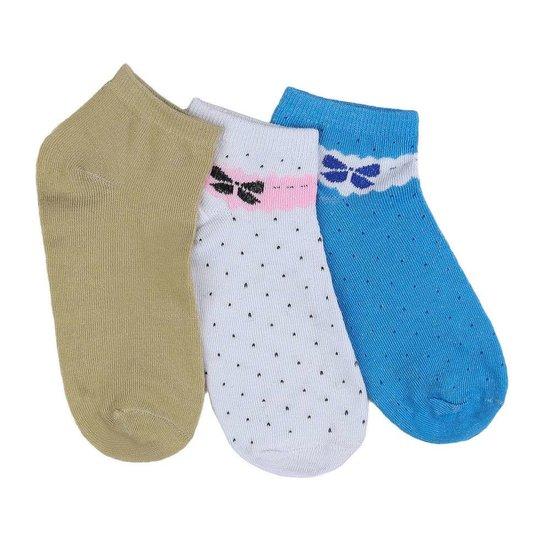 Assortiment van 12 paar dames sokken met strik blauw/wit/olive.37-41