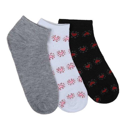 Assortiment van 12 paar dames sokken met hart grijs/wit/blauw.37-41