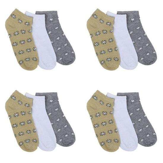 Assortiment van 12 paar dames sokken met hart grijs/wit/olive.37-41