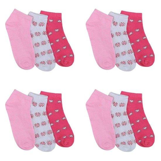 Assortiment van 12 paar dames sokken met hart rose/wit/rood.35-38