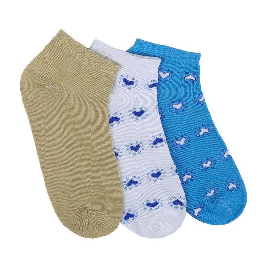 Assortiment van 12 paar dames sokken met hart blauw/wit/olive.35-38
