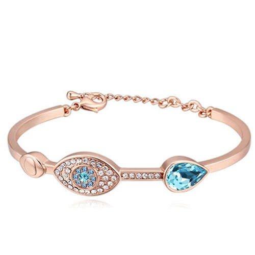 Elegante rose gouden armband met blauw motief.