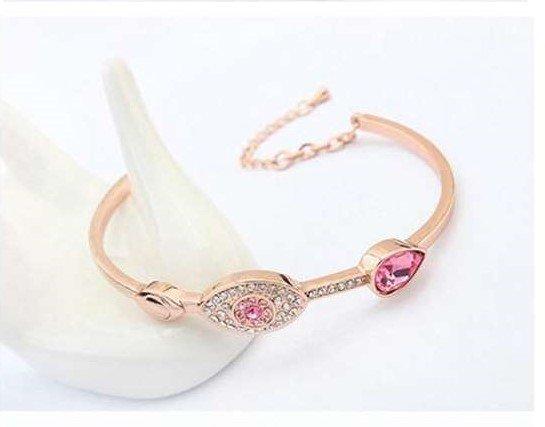 Elegante rose gouden armband met rose motief.