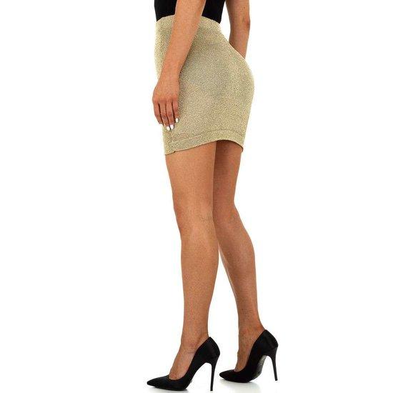 Hippe gouden stretch mini rok.