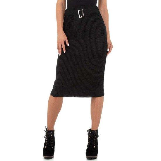 Classy zwarte tricot midi rok.
