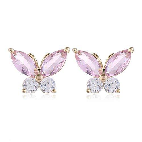 Fijne roze oorbellen met vlindermotief.