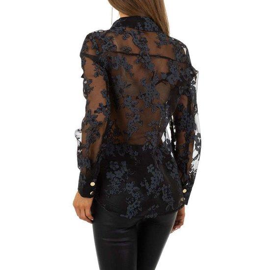 Fashion zwarte hemdblouse in voile.