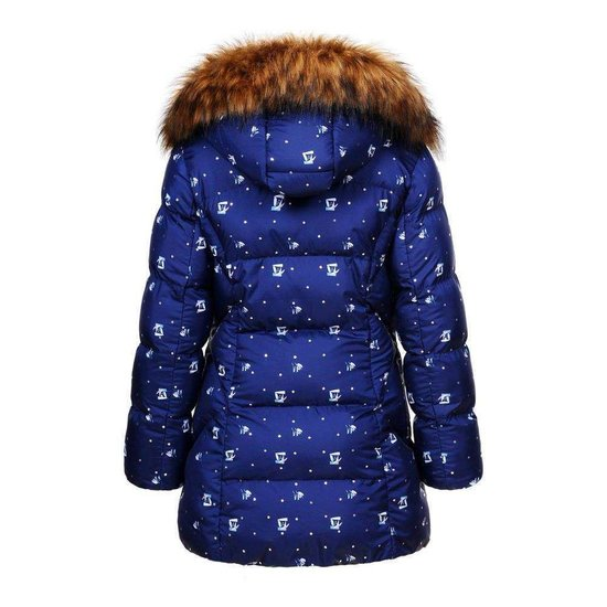 Hippe blauwe gewatteerde meisjes winterjas.