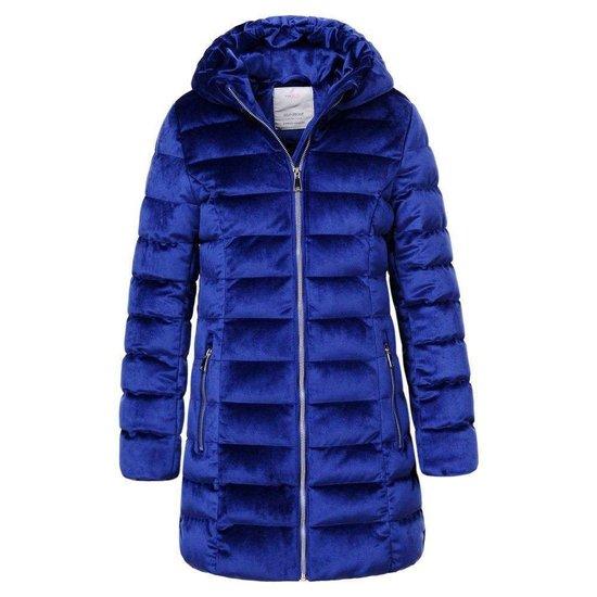 Modieuze blauwe gewatteerde meisjes winterjas.