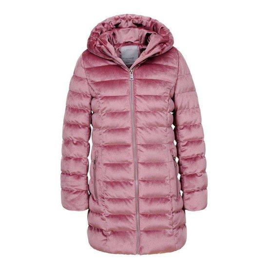Modieuze roze gewatteerde meisjes winterjas.