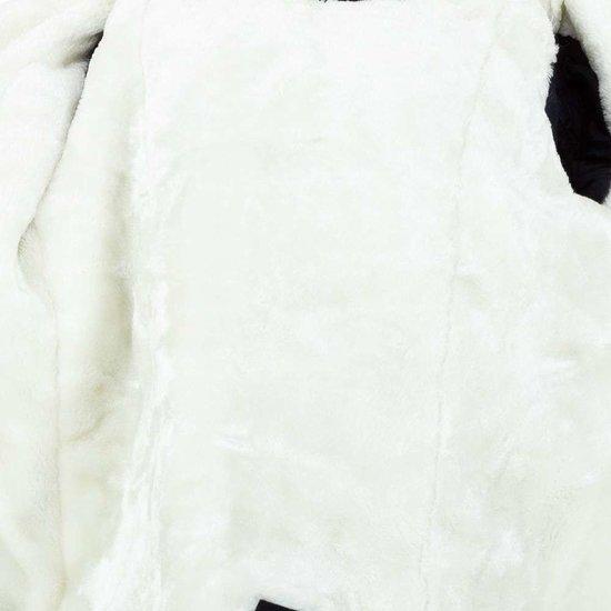 Donkerblauwe meisjes winterjas met parelversiering.