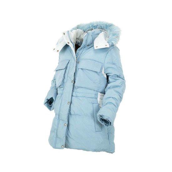 Classy lichtblauwe gewatteerde meisjes winterjas.