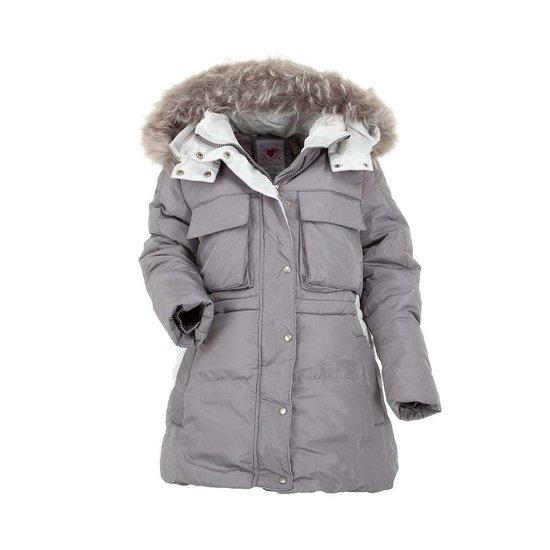 Classy grijze gewatteerde meisjes winterjas.