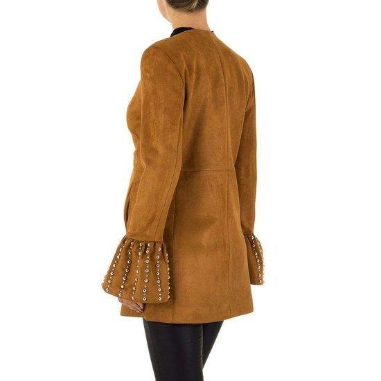 Trendy daimen camel midi vest met wijde mouwen.