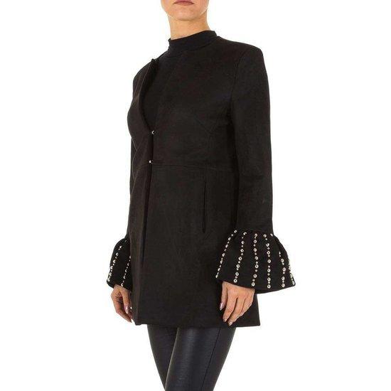 Trendy daimen zwarte midi vest met wijde mouwen.