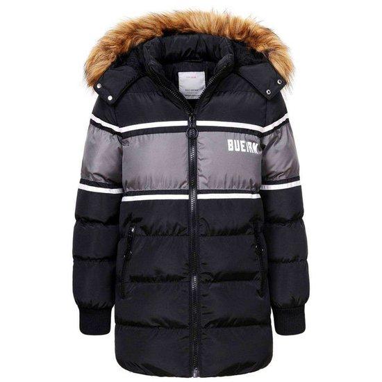 Trendy zwarte two-tone jongens winterjas.