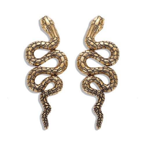 Gouden oorbellen snake.