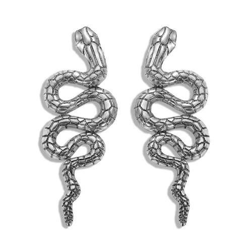 Zilveren oorbellen snake.