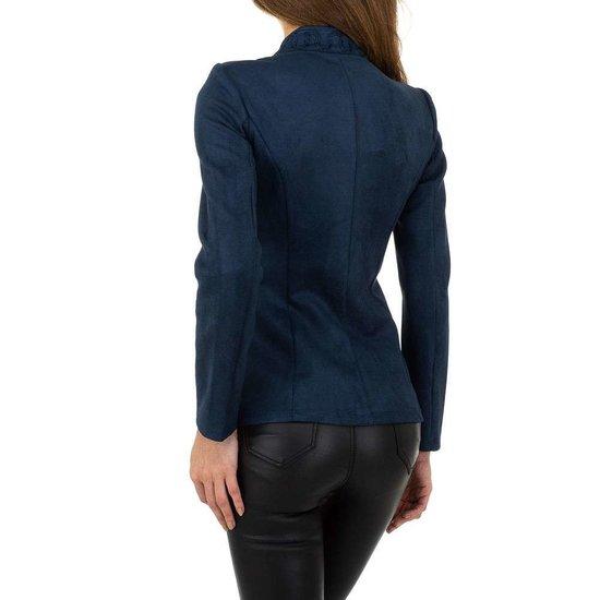 Stylish blauwe velours officiers blazer.