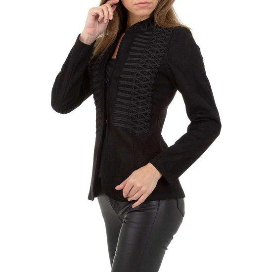 Stylish zwarte velours officiers blazer.