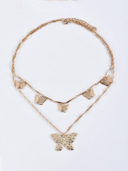 Gouden halsketting met vlinders.