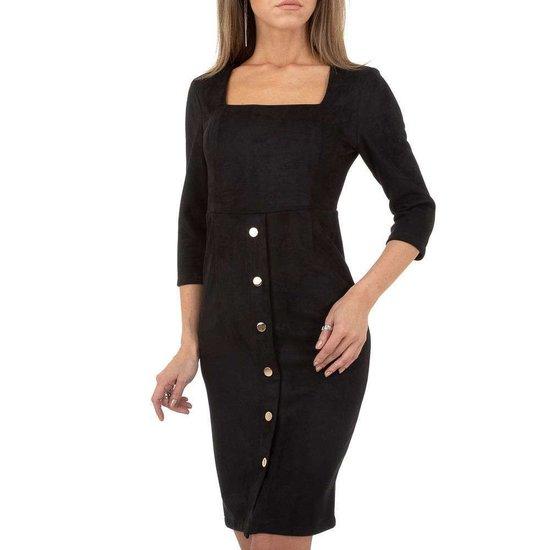 Classy zwarte jurk in daim.