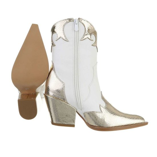 Halfhoge witte cowgirl laars Kriti.SOLD OUT