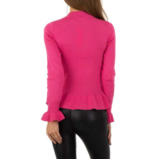 Trendy rose pullover met volants in maille.