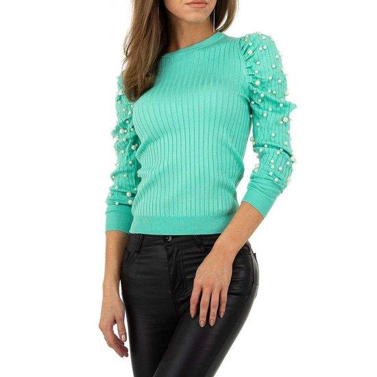 Trendy pastel groene pullover met parelversiering.