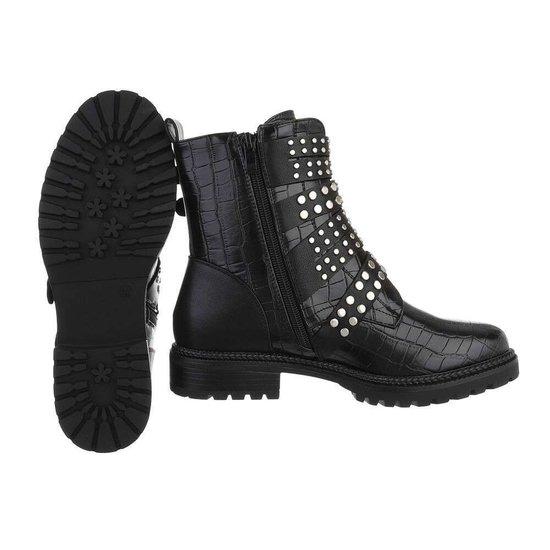 Kinky zwarte croco boot Davin.