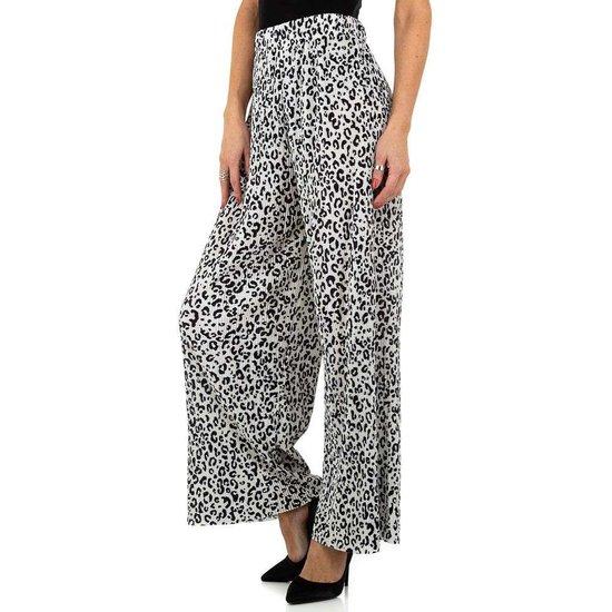 Trendy zwarte/witte broek met brede pijpen.