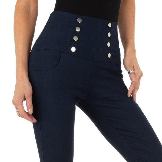 Skinny aanpassende donker blauwe hoge taille broek.