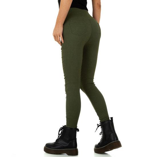 Skinny aanpassende groene hoge taille broek.