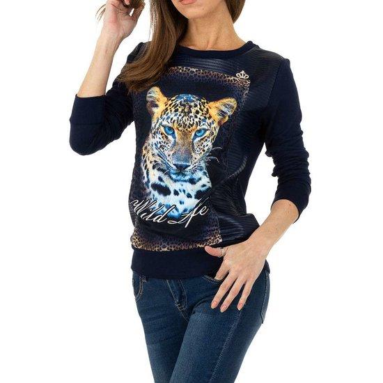 Trendy blauwe sweatshirt met luipaardhoofd SOLD OUT