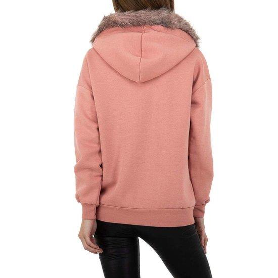 Rose sweater met pelsen kraag.SOLD OUT