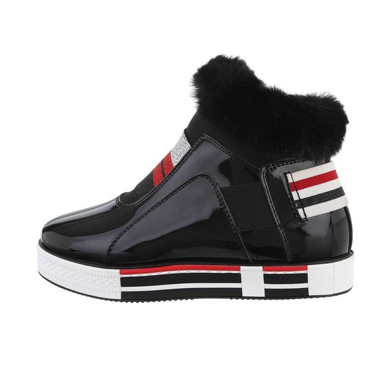 Zwarte lak fashion hoge sneaker Nera.
