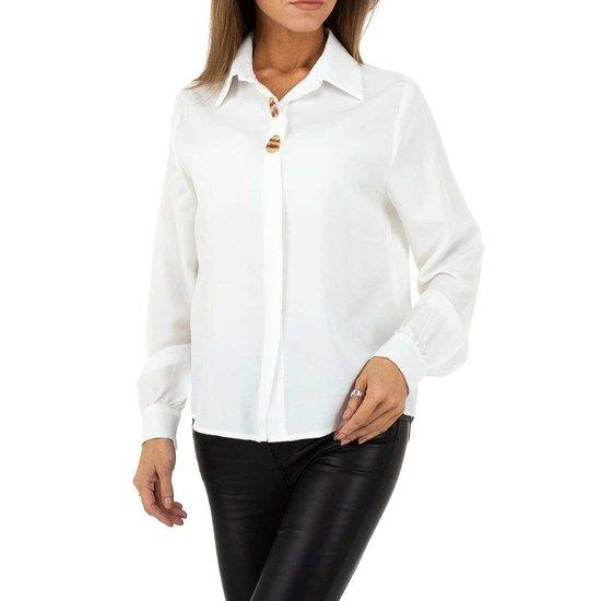 Elegante witte hemdblouse.