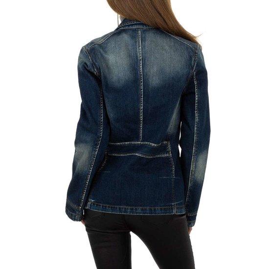 Trendy blue jeans blazer.