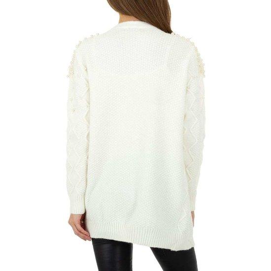 Fashion oversized witte cardigan.